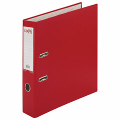 """Папка-регистратор STAFF """"Manager"""" с покрытием из ПВХ, 70 мм, без уголка, красная, 225980"""