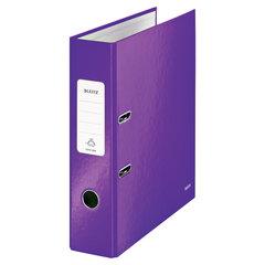 """Папка-регистратор LEITZ """"WOW"""", механизм 180°, ламинированная, 80 мм, фиолетовая"""