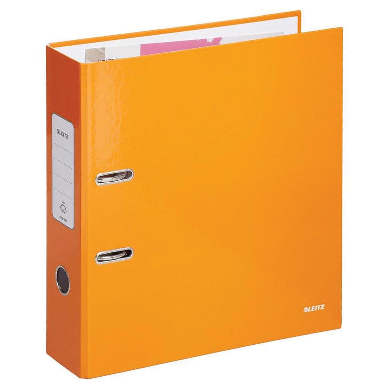 Папка-регистратор LEITZ, механизм 180°, с покрытием пластик, 80 мм, оранжевая