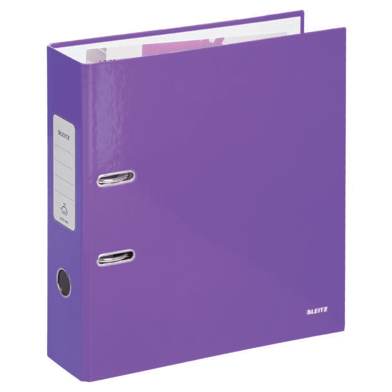 Папка-регистратор LEITZ, механизм 180°, покрытие пластик, 80 мм, фиолетовая, 10101268