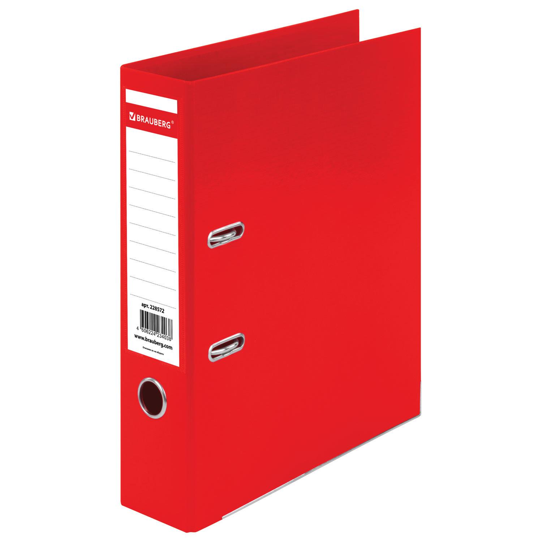 """Папка-регистратор BRAUBERG """"EXTRA"""", 75 мм, красная, двустороннее покрытие пластик, металлический уголок, 228572"""