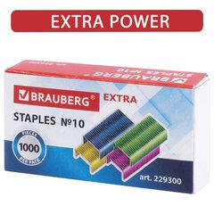 """Скобы для степлера цветные №10, 1000 штук, BRAUBERG """"EXTRA"""", до 20 листов, 229300"""