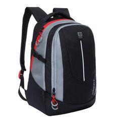 Рюкзак GRIZZLY молодежный, 2 отделения, черный с серыми вставками, 44x30x20 см, RU-034-1/2