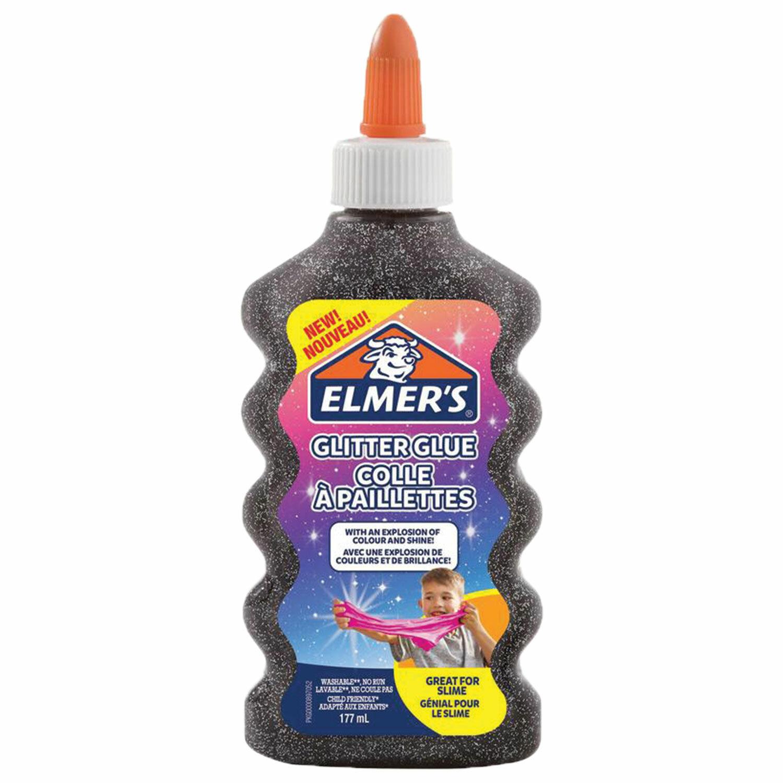 Клей для слаймов канцелярский с блестками ELMERS Glitter Glue, 177 мл, черный, 2109501