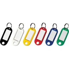 Бирки для ключей КОМПЛЕКТ 12 шт., длина 50 мм, инфо-окно 30х15 мм, АССОРТИ, BRAUBERG, 231151