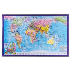 Коврик-подкладка настольный для письма BRAUBERG, 380х590 мм, с картой мира