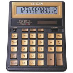 Калькулятор настольный CITIZEN SDC-888TIIGE Gold (203х158 мм), 12 разрядов, двойное питание, ЗОЛОТОЙ