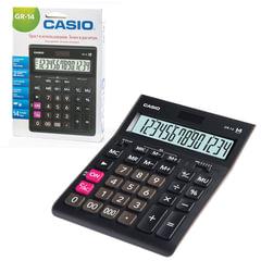 Калькулятор CASIO настольный GR-14-W, 14 разрядов, двойное питание, 209х155 мм, европодвес, черный