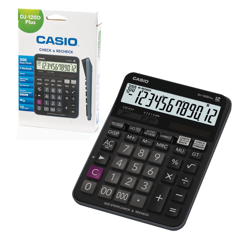 Калькулятор настольный CASIO DJ-120DPLUS-W (192х144 мм), 12 разрядов, двойное питание, черный