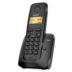 Радиотелефон GIGASET A120, память на 40 номеров, АОН, повтор, часы, черный