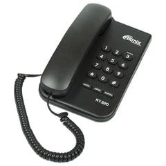 Телефон RITMIX RT-320 black, световая индикация звонка, блокировка набора ключом, черный