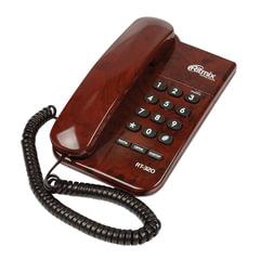 Телефон RITMIX RT-320 coffee marble, световая индикация звонка, блокировка набора ключом, коричневый