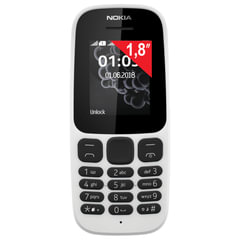 """Телефон мобильный NOKIA 105 DS, TA-1034, 2 SIM, 1,8"""", белый"""
