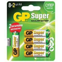 Батарейки GP Super, AA (LR06, 15 А), алкалиновые, комплект 10 шт. (промо 8+2), в блистере