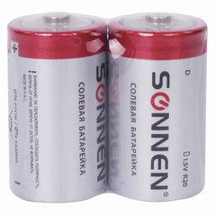 Батарейки SONNEN, D (R20), солевые, КОМПЛЕКТ 2 шт., в пленке, 451100