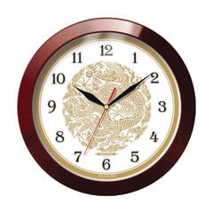 """Часы настенные TROYKA 11131190, круг, бежевые с рисунком """"Золотой дракон"""", коричневая рамка, 29х29х3,5 см"""