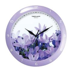 """Часы настенные TROYKA 11143123, круг, белые с рисунком """"Колокольчики"""", сиреневая рамка, 29х29х3,5 см"""