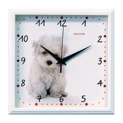 """Часы настенные САЛЮТ П-2А7-391, квадрат, белые с рисунком """"Щенок"""", белая рамка, 28х28х4 см"""