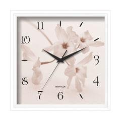 """Часы настенные САЛЮТ П-2А7-406, квадрат, белые с рисунком """"Цветы"""", белая рамка, 28х28х4 см"""