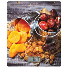 Весы кухонные SCARLETT SC-KS57P33, электронный дисплей, max вес 8 кг, тарокомпенсация, стекло