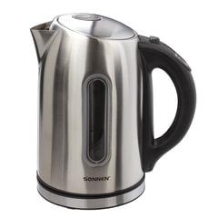 Чайник SONNEN KT-1740, 1,7 л, 2200 Вт, закрытый нагревательный элемент, терморегулятор, нержавеющая сталь