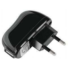 Зарядное устройство сетевое (220 В) DEPPA, 1 порт USB, выходной ток 2,1 А, черное