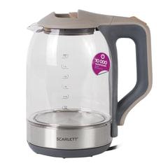 Чайник SCARLETT SC-EK27G42, 1,7 л, 1800 Вт, закрытый нагревательный элемент, стекло, серый