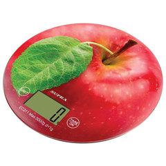 """Весы кухонные SUPRA BSS-4300 """"Яблоко"""", электронный дисплей, max вес 5 кг, тарокомпенсация, стекло"""
