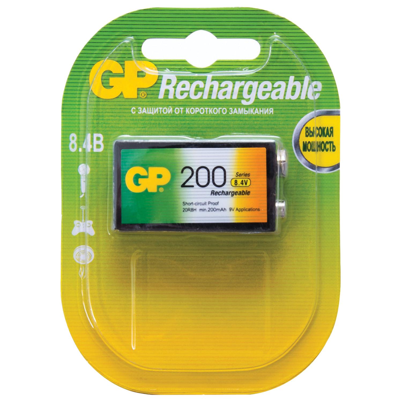 Батарейка аккумуляторная GP, Крона (20R8H, 6F22), Ni-Mh, 200 mAh, 1 шт., в блистере