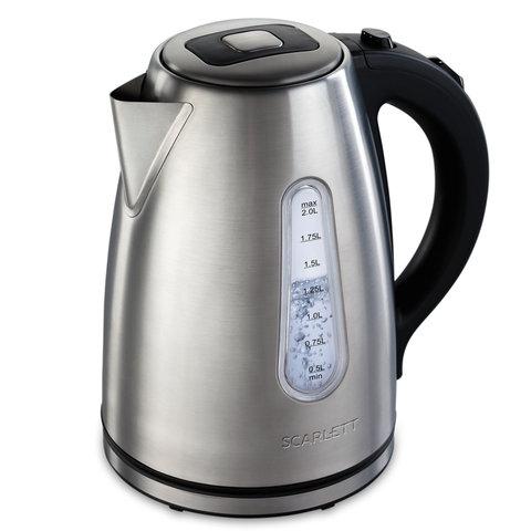 Чайник SCARLETT SC-EK21S43, 2 л, 2200 Вт, закрытый нагревательный элемент, сталь