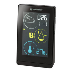 Метеостанция BRESSER Temeo Life H, термодатчик, гигрометр, часы, будильник, календарь, черный, 73278