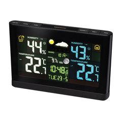 Метеостанция BRESSER, термодатчик, гигрометр, барометр, часы, будильник, черный