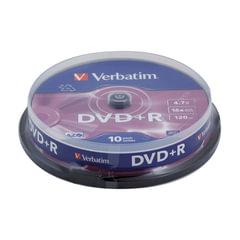 Диски DVD+R (плюс) VERBATIM 4,7 Gb 16x, КОМПЛЕКТ 10 шт., Cake Box