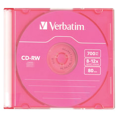 Диск CD-RW VERBATIM, 700 Mb, 8х-12х, Colour Slim Case, 43167