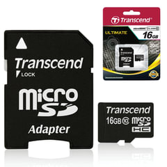 Карта памяти micro SDHC, 16 GB, TRANSCEND, 10 Мб/сек. (class 10), с адаптером, TS16GUSDHC10