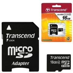Карта памяти micro SDHC, 16 GB, TRANSCEND, 4 Мб/сек. (class 4), с адаптером, TS16GUSDHC4