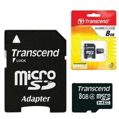 Карта памяти micro SDHC, 8 GB, TRANSCEND, 4 Мб/сек. (class 4), с адаптером, TS8GUSDHC4