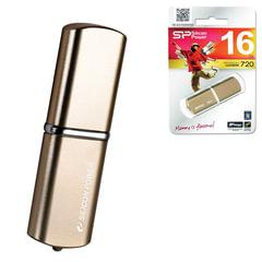Флэш-диск 16 GB, SILICON POWER LuxMini 720, USB 2.0, металлический корпус, бронзовый