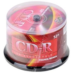 Диски CD-R VS 700Mb 52x, КОМПЛЕКТ 50 шт., Cake Box, VSCDRCB5001