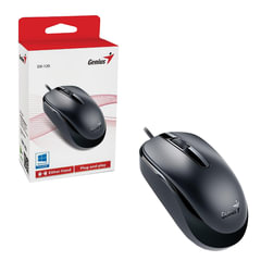 Мышь проводная GENIUS DX-120, USB, 2 кнопки + 1 колесо-кнопка, оптическая, черная