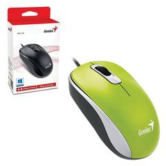 Мышь проводная GENIUS DX-110, USB, 2 кнопки + 1 колесо-кнопка, оптическая, зелёная