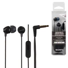 Наушники с микрофоном (гарнитура) SONY MDR-EX15AP, проводные, 1,2 м, вкладыши, стерео, черные