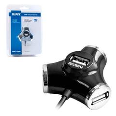 Хаб SVEN HB-012, USB 2.0, 4 порта, кабель 1,2 м, черный