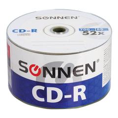 Диски CD-R SONNEN 700 Mb 52x Bulk, КОМПЛЕКТ 50 шт.