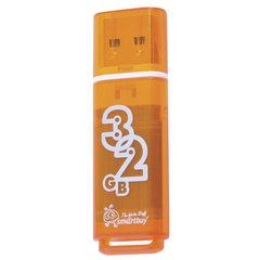 Флэш-диск 32 GB, SMARTBUY Glossy, USB 2.0, оранжевый