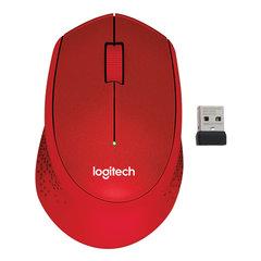 Мышь беспроводная LOGITECH M330, 2 кнопки+1 колесо-кнопка, оптическая, красная