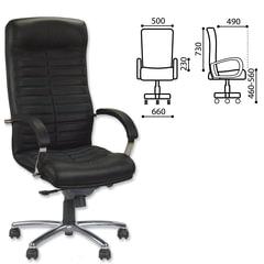 """Кресло офисное """"Orion steel chrome"""", кожа, хром, черное"""