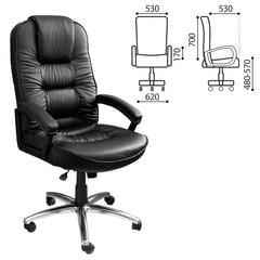"""Кресло офисное """"Джаз New"""", СН 418, кожа, хром, черное"""