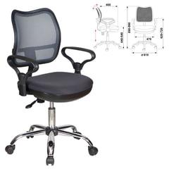Кресло оператора CH-799SL с подлокотниками, хром, серое