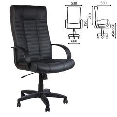 """Кресло офисное """"Атлант"""", кожа, монолитный каркас, черное К-01"""